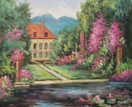 20X24 inch Impressionism Oil Painting Flowering Mansion - $14.69