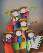 20X24 inch Abstract Children Oil Painting the School Band - $14.69