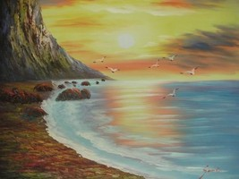 20X24 inch Seascape Oil Painting Suise over the Sea - $14.67