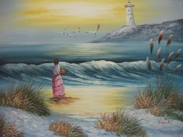 20X24 inch Seascape Oil Painting Waiting Girl t... - $14.67