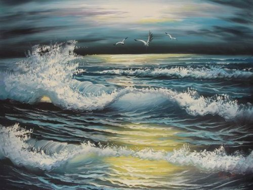 Primary image for 20X24 inch Seacape Hand-painted Painting Sunset Over the Sea