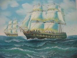 20X24 inch Seascape Oil Painting Atlantic Saili... - $14.67