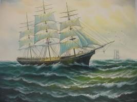 20X24 inch Seascape Oil Painting Caribbean Sail... - $14.67