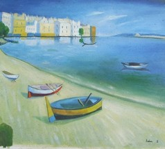 20X24 inch Seascape Oil Painting Boats by Villas at the Bay - $14.67