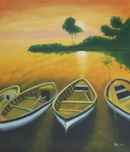 20X24 inch Seascape Oil Painting Boats at the Bay - $14.67