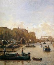 12X16 inches Vreedenburgh Cornelis View on the Amstel Sun Canvas - $13.70
