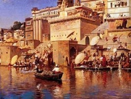 12X16 inches Weeks Edwin On The River Benares 1883 Canvas Print Repro - $13.70