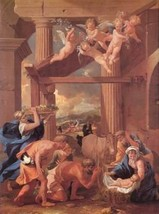 12X16 inches Poussin The Adoration of the Shepherds Canvas Print Repro - $13.70