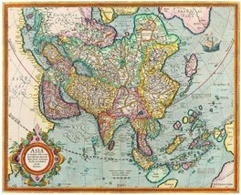 12X14 inches Rare Antique Map Canvas Asia Map - $13.70