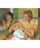 12X16 inches Cassatt Mary Mother Combing Child's Hair 1879 Canvas Print - $13.70