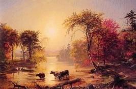 12X16 inches Cropsey Jasper Autumn in America 1860 Canvas Print Repro - $13.70