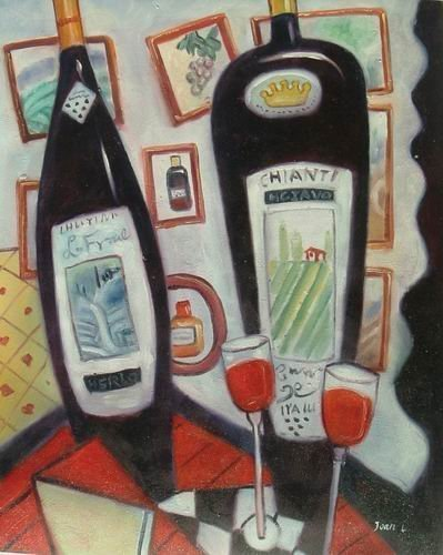 Primary image for 20X24 inch Still Life Oil Painting Wine Bottles and Cups