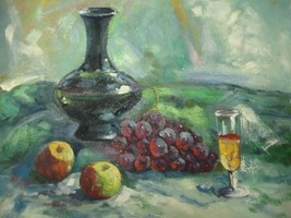 20X24 inch Still Life Hand-painted Painting Apple,Grape,Wine - $13.69