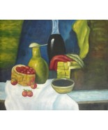 20X24 inch Hand-painted Still Life Oil Painting Wine&Fruits - $13.69