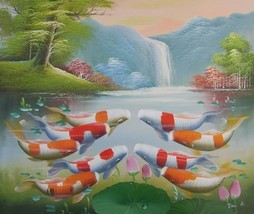 20X24 inch Oil Painting Jumping Fortune Goldfishes up Lake - $10.18