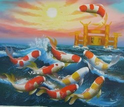 20X24 inch Oil Painting Jumping Fortune Goldfishes on Sea - $10.18