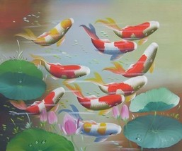 20X24 inch Art Oil Painting Fortune Goldfishes in Lotus Pond - $10.18