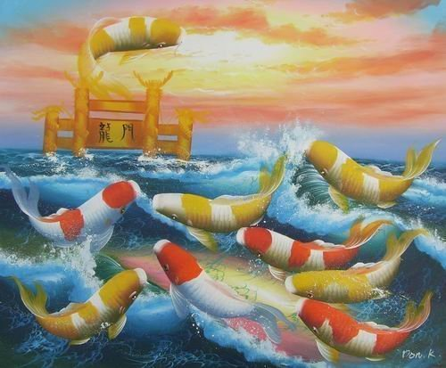 20X24 inch Oil Painting Jumping Fortune Goldfishes on Sea