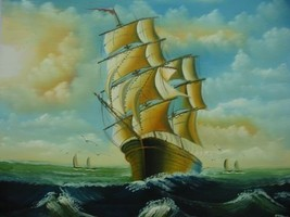 20X24 inch Seascape Oil Painting Sailing Boat - $6.26