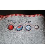 Koala Baby Blue Sport Little All Star Baby Blanket Orange Stitch Trim - $19.55