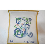 """F Initial Letter Script with Flowers Needlepoint Canvas 5 1/2 x 6"""" 12 co... - $18.61"""