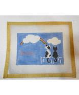 Room w Cats Rainbow & Clouds Needlepoint Canvas 7 x 5 inches Mesh 12 Count - $32.83
