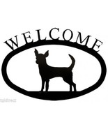 Wrought Iron Welcome Sign Chihuahua Silhouette Outdoor Dog Plaque Accent... - $36.99
