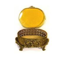 Antique LARGE Amber GLass Ormolu jewelry casket... - $125.00