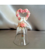 Vintage Crystal Bell 24% Lead Crystal Pink Heart White Doves 1992 - $14.99