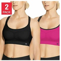 New Champion 2 Pack Criss Cross Seamless Sport Bras Pink/Black