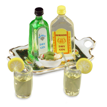 DOLLHOUSE Gin & Tonic Set 1.761/8 Reutter Spirits Irish Rose Miniature - $23.25