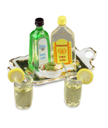 DOLLHOUSE Gin & Tonic Set 1.761/8 Reutter Spirits Irish Rose Miniature - $23.25