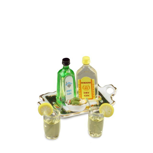 DOLLHOUSE Gin & Tonic Set 1.761/8 Reutter Spirits Irish Rose Miniature