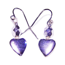 6mm Silver Crystal Bead/ 8x10mm Steel Heart Drop Earrings - $11.99