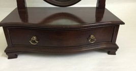 Vtg Ethan Allen Dark Wood Oval Mirror Jewelry Box Shaving Vanity Tabletop Drawer image 2