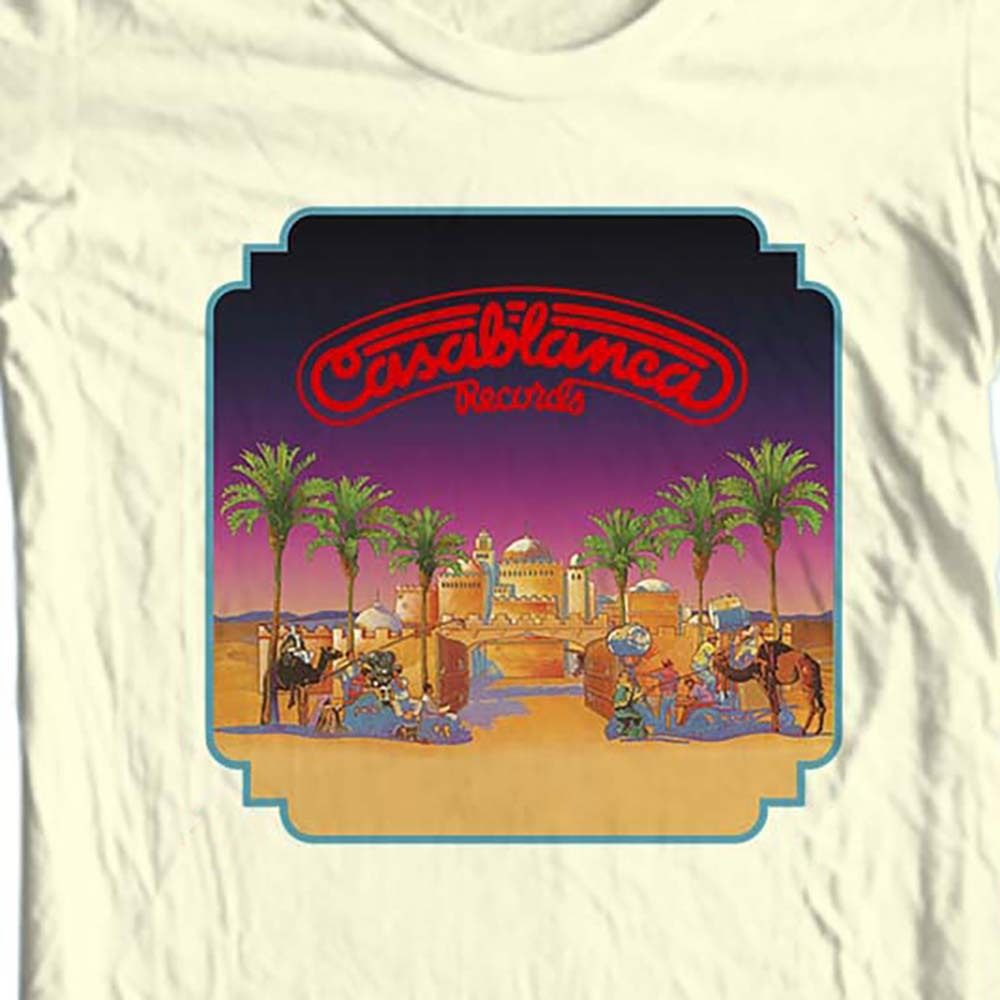 Tal rock disco retro nostalgic record label graphic tee shirt for sale online free shipping. tan