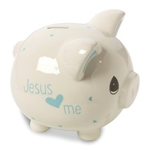 Precious Moments Blue Ceramic Jesus Loves Me Piggy Bank - $39.99