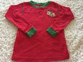 Carters Boys Red Green Reindeer SANTA'S HELPER Snug Long Sleeve Pajama Shirt 4T - $5.00