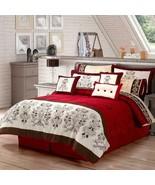 Elegant Carmine Red Floral Reversible Winter Comforter Set KING Size 6PCS - $189.98