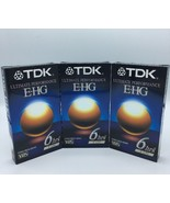 TDK ultimate performance E-HG VHS 6 hours Lot of 3 Extra High Grade Sealed - $12.99