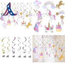 30 Ct Unicorn Hanging Swirl Decorations-Unicorn Party Decorations-Unicor... - £9.39 GBP