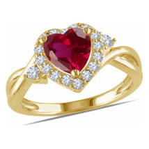 Heart Shape Red Garnet Womens Engagement Ring 14k Gold Finish 925 Solid ... - £50.48 GBP