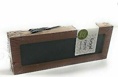 Name Plates Wood 4 Count Brown Border Works w/ Chalk Has Black Hang Straps NEW