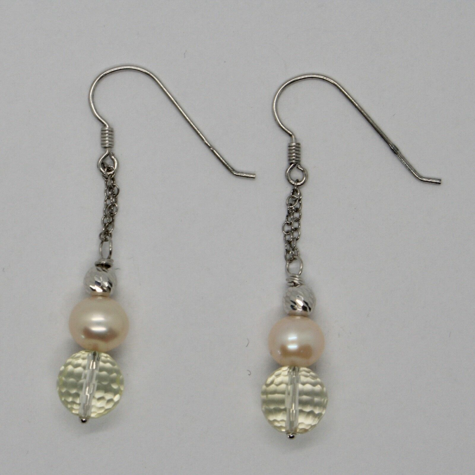 Silver Earrings 925 Rhodium Hanging With Quartz Lemon Faceted And Pearls