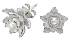DOWER & HALL Orchid Sterling Silver Carved Freshwater Pearl Earrings BNIB - $115.63