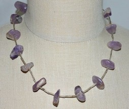 VTG Silver Tone Purple Quartz Polished Beaded Necklace - $19.80