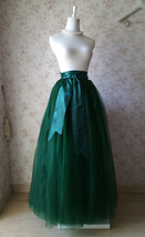 4-Layered DARK GREEN Tulle Skirt High Waisted Plus Size Long Puffy Tulle Skirt image 3