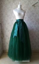 4-Layered DARK GREEN Tulle Skirt High Waisted Plus Size Long Tulle Skirt image 2