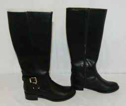 Soda HIROS Black Zip Up Riding Boot Gold Colored Accents Size 5 And Half image 3