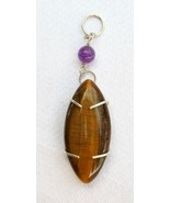 "Sterling Silver and Tiger Eye ""Prong"" Design Pendant - $50.00"